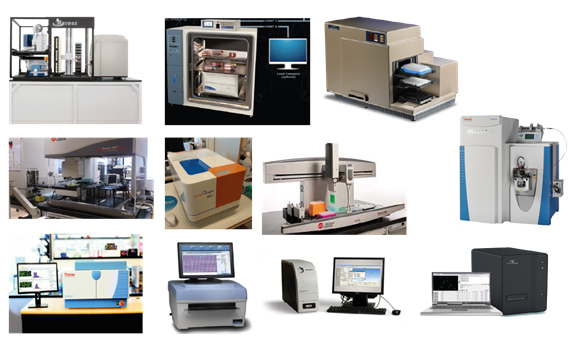 The image shows a selection of the machines available in the lab of cancer pharmacology and computational medicine.